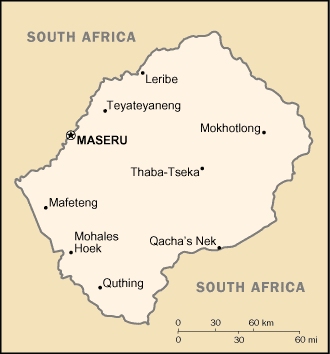 Location map Lesotho Wikiwand