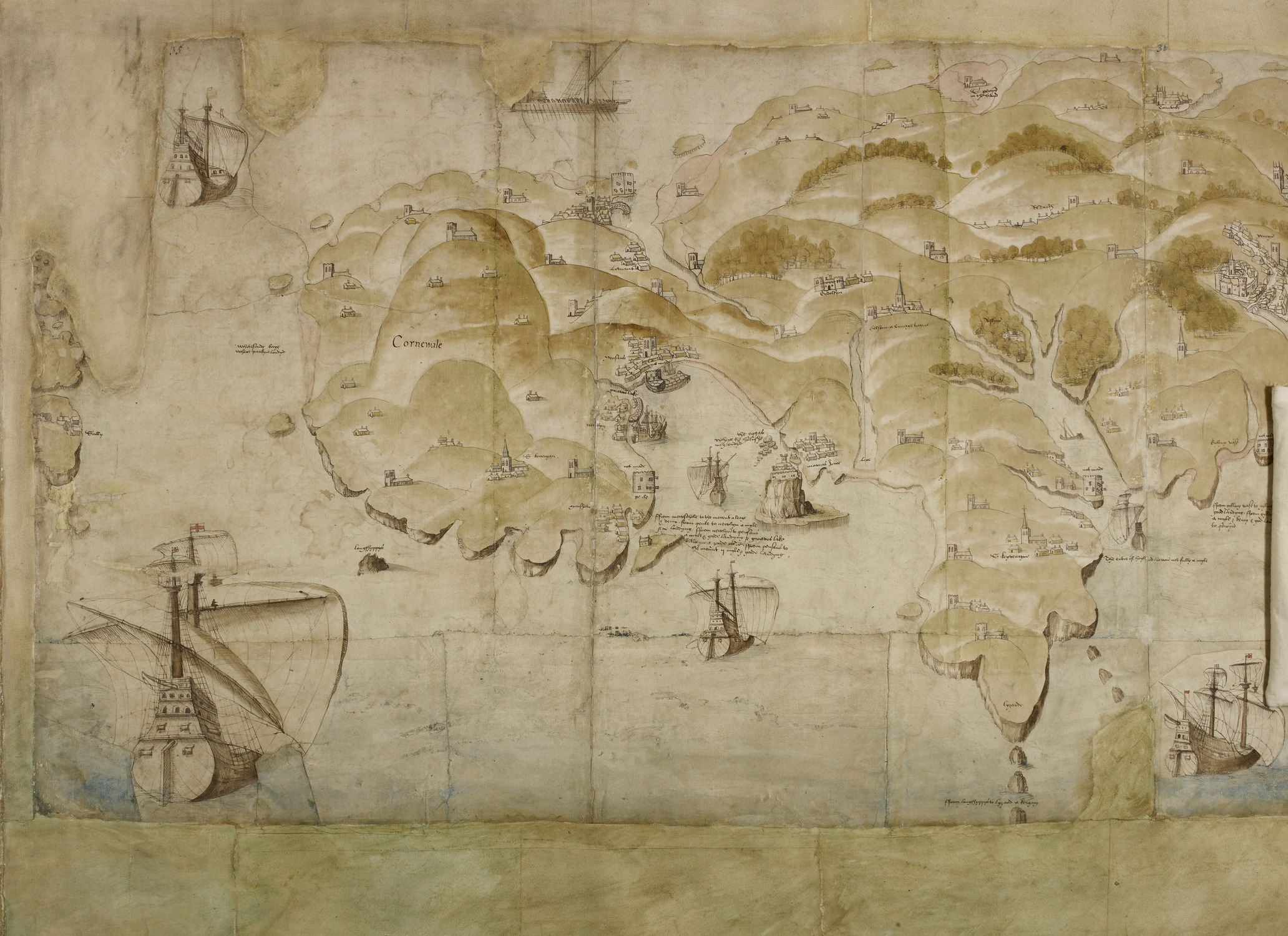 File:Map of Cornish coastline (c.1539) - BL Cotton MS Augustus