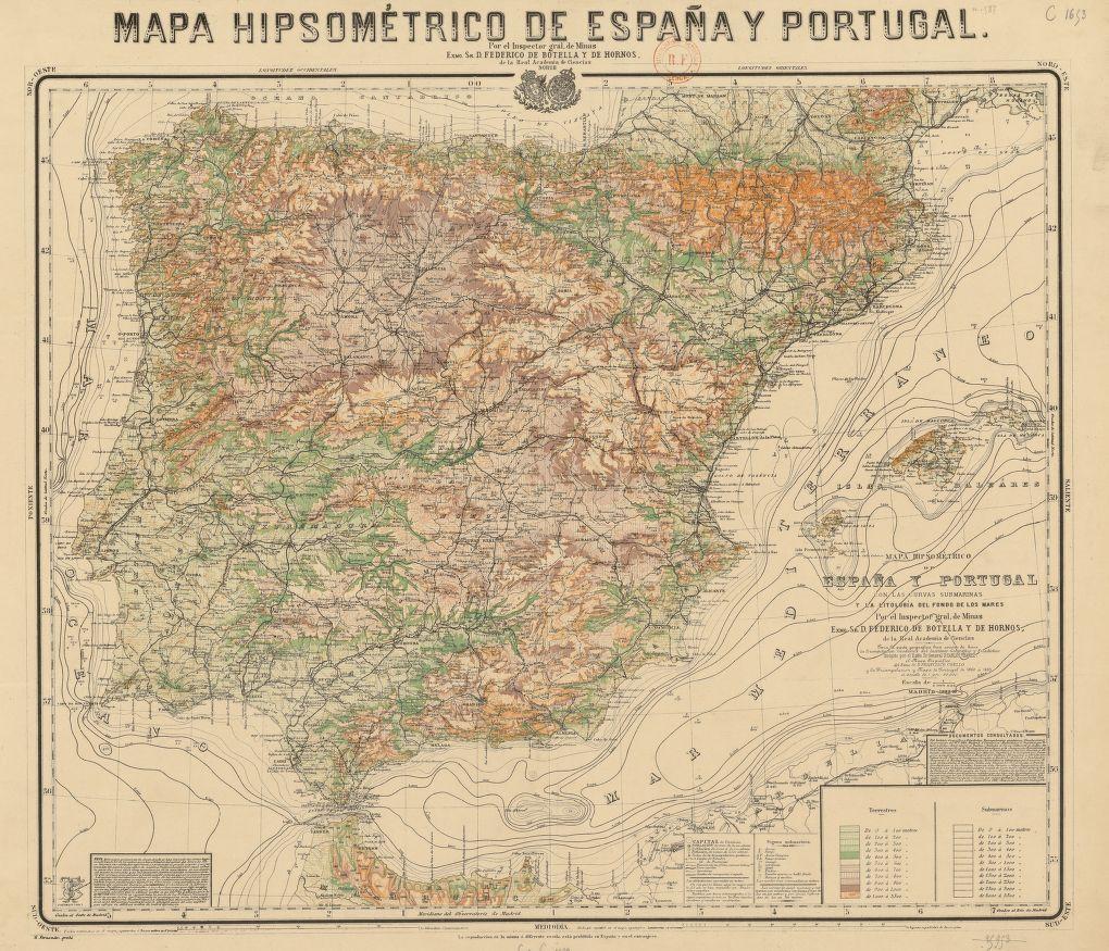File Mapa Hipsometrico De Espana Y Portugal Por El Inspector