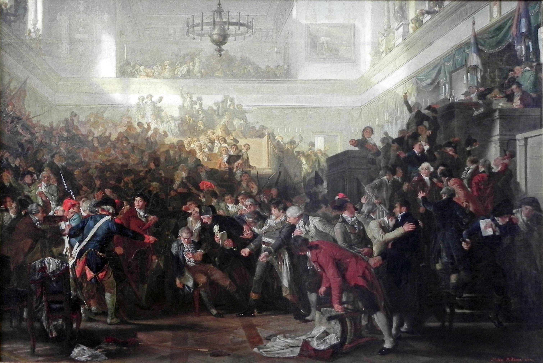 Detención de Robespierre en la Convención Nacional. Cuadro de Max Adamo (1870).