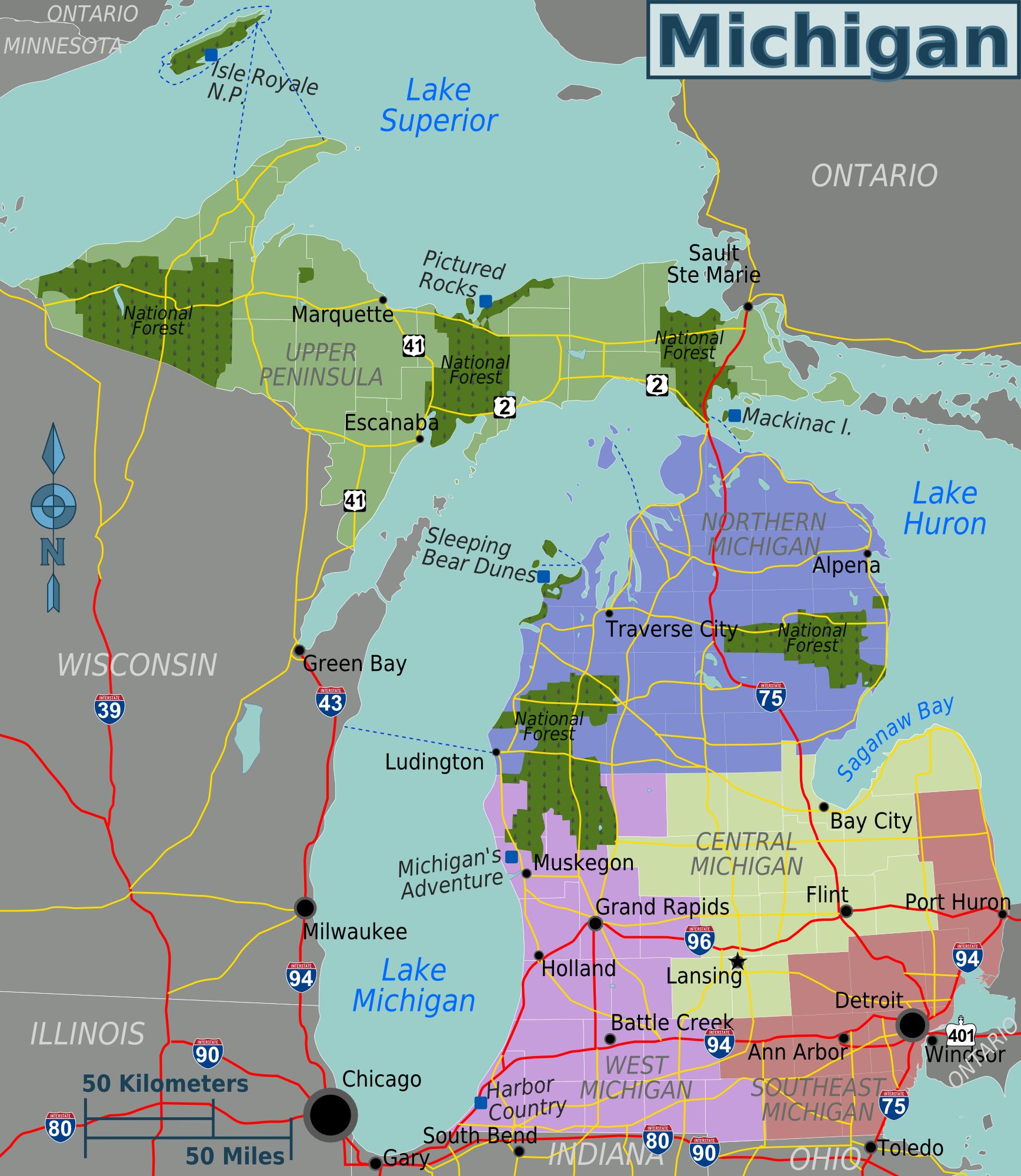 Datei:Michigan regions map.png – Reiseführer auf Wikivoyage