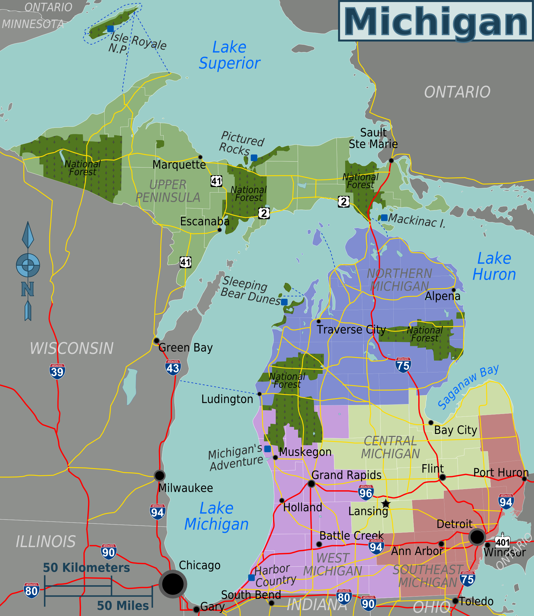 michigan karte File:Michigan regions map.png   Wikimedia Commons michigan karte