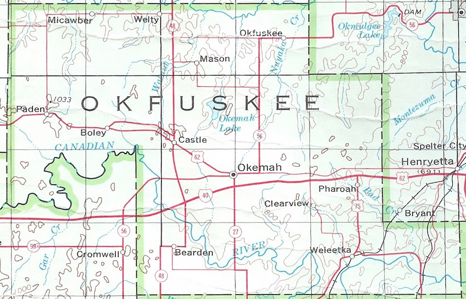 okfuskee county Named for a creek town in cleburn county, alabama, okfuskee county was originally part of the creek nation, indian territorymuch of its history is tied to that of the creek nation.