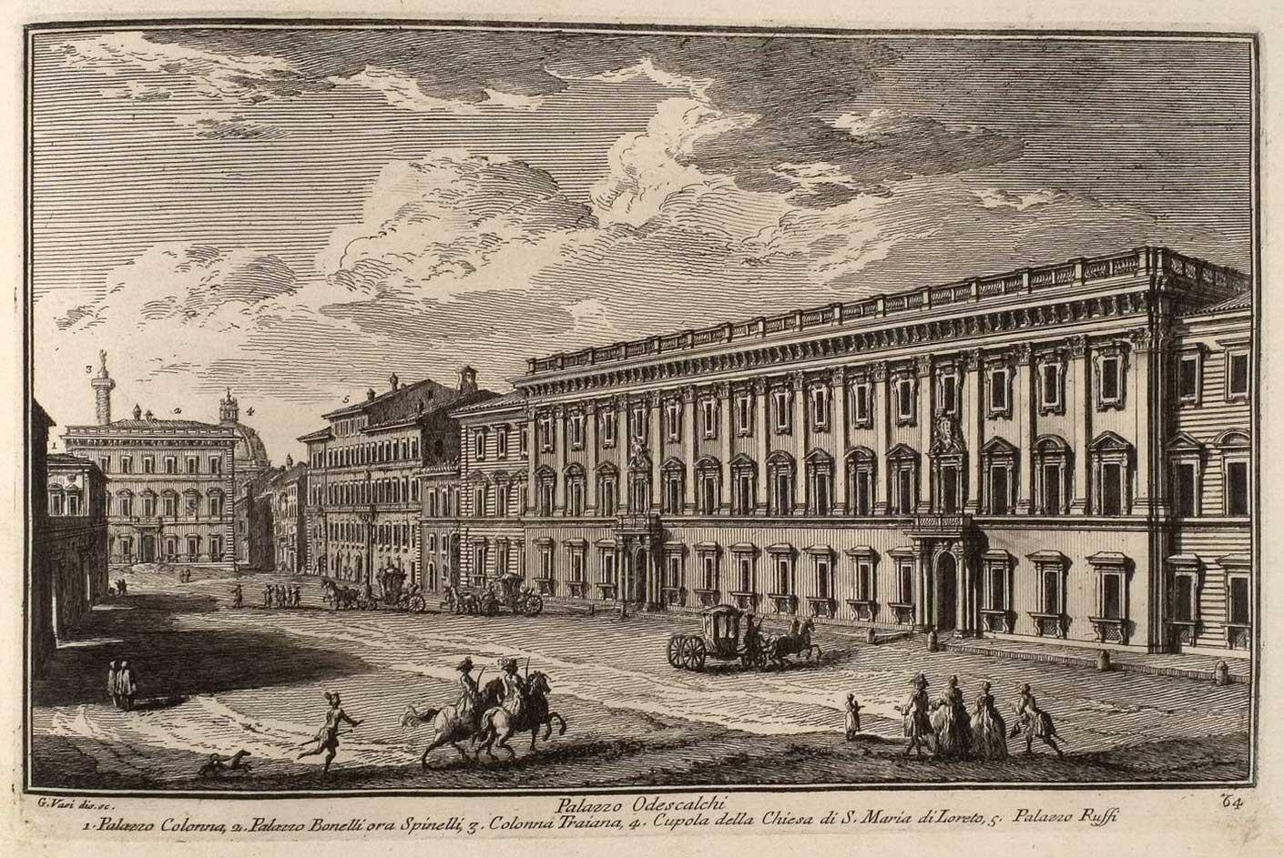 Ancienne illustration de la place avec le Palazzo Colonna, le Palazzo Bonelli Spinelli (aujourd'hui Valentini), Colonna Traiana, S. Maria di Loreto et le Palazzo Ruffi à Rome.