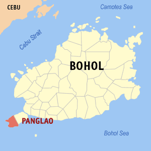 Map of Bohol showing the location of Panglao