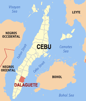 Map of Cebu showing the location of Dalaguete