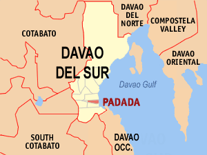 Map of Davao del Sur showing the location of Padada