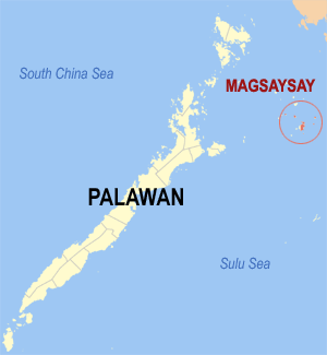 Map of Palawan showing the location of Magsaysay
