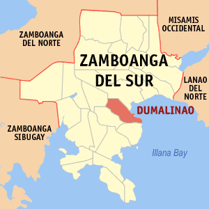 Map of Zamboanga del Sur showing the location of Dumalinao