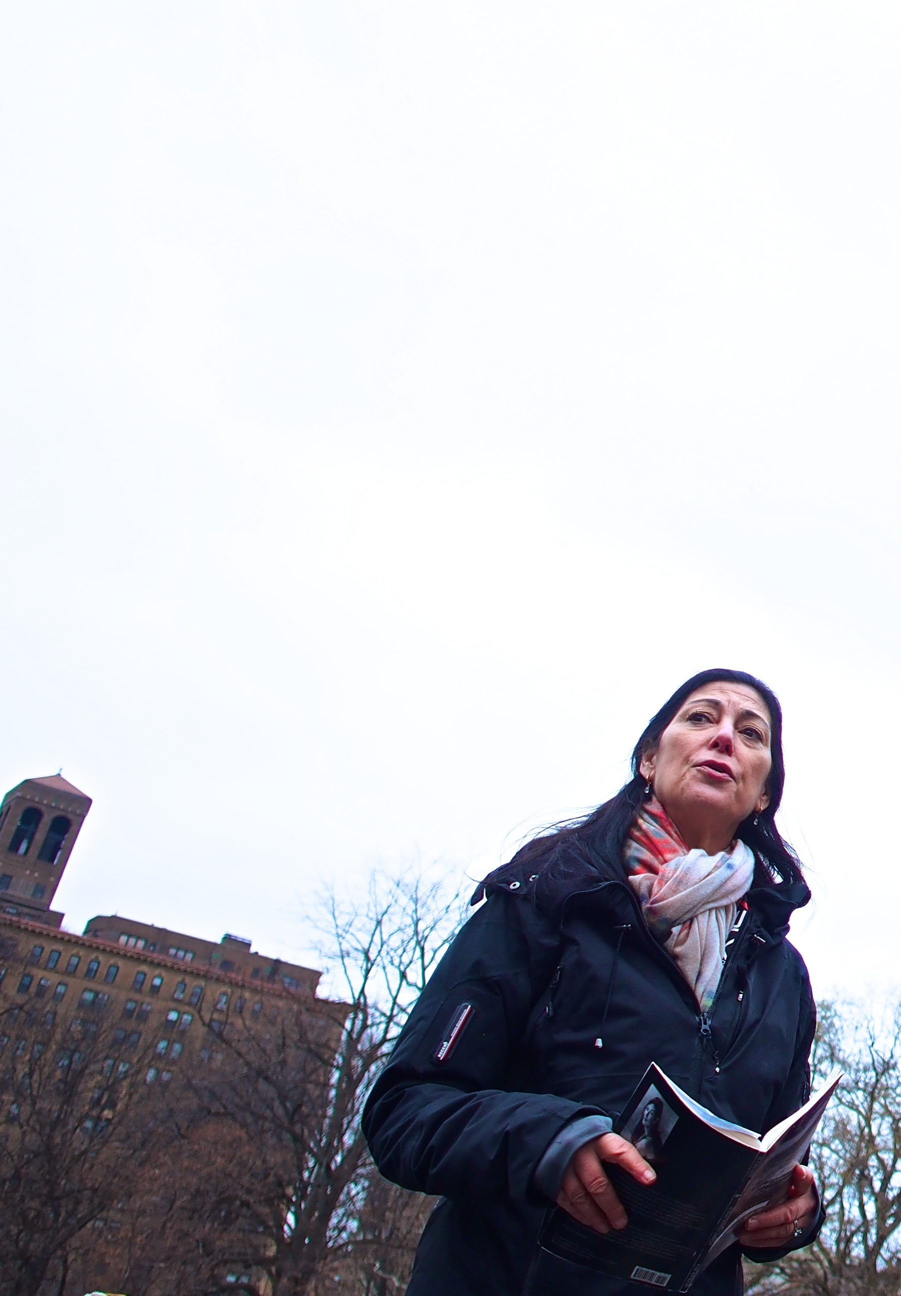 Victoria Redel attends a rally at Washington Square, New York in December 2014