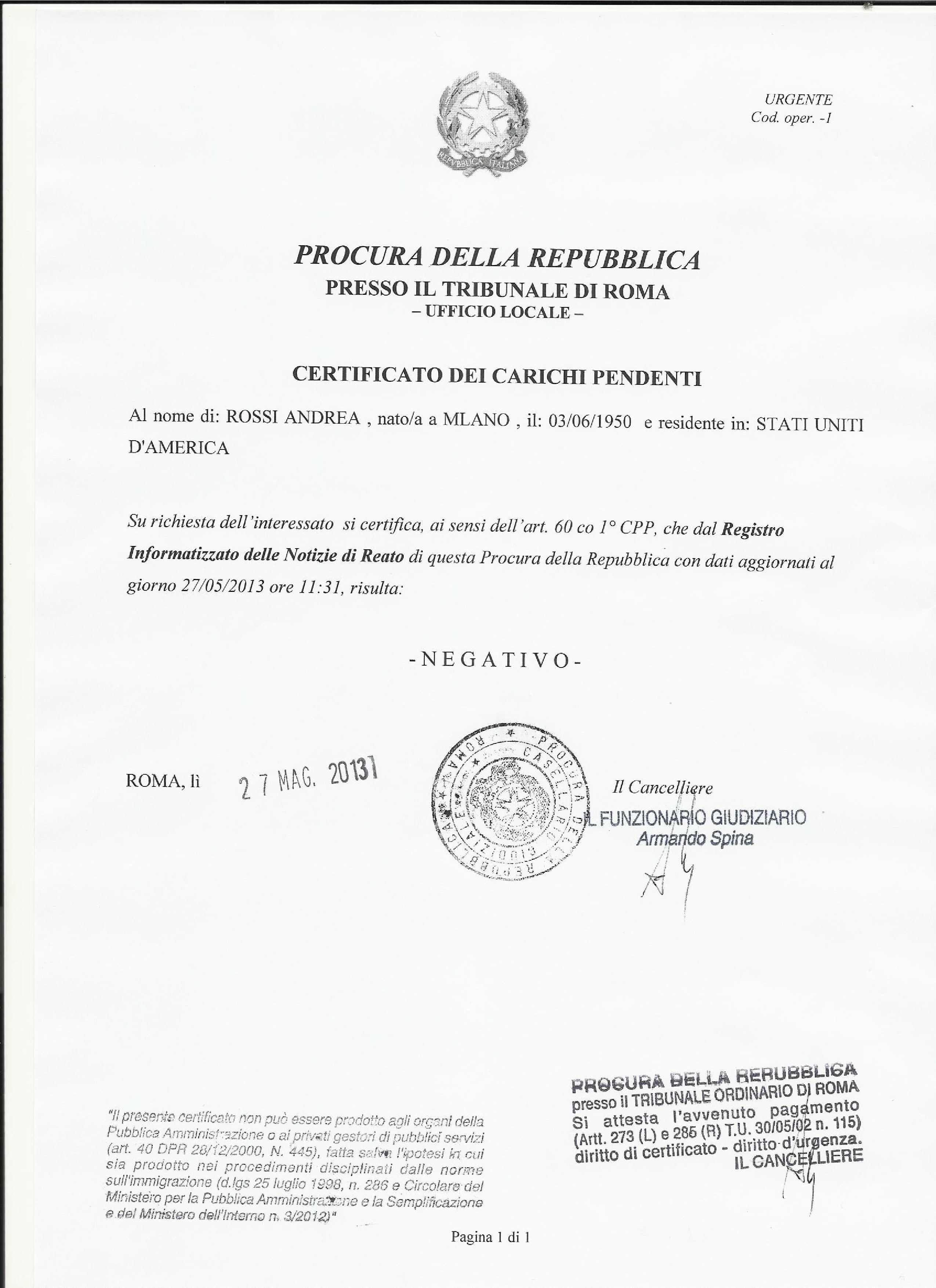 Certificate carichi pendenti online dating