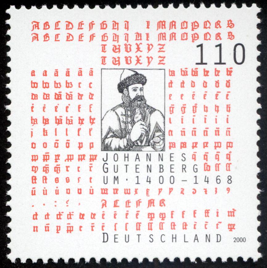 deutsche briefmarke 2000 zum 600 geburtstag von gutenberg - Johannes Gutenberg Lebenslauf