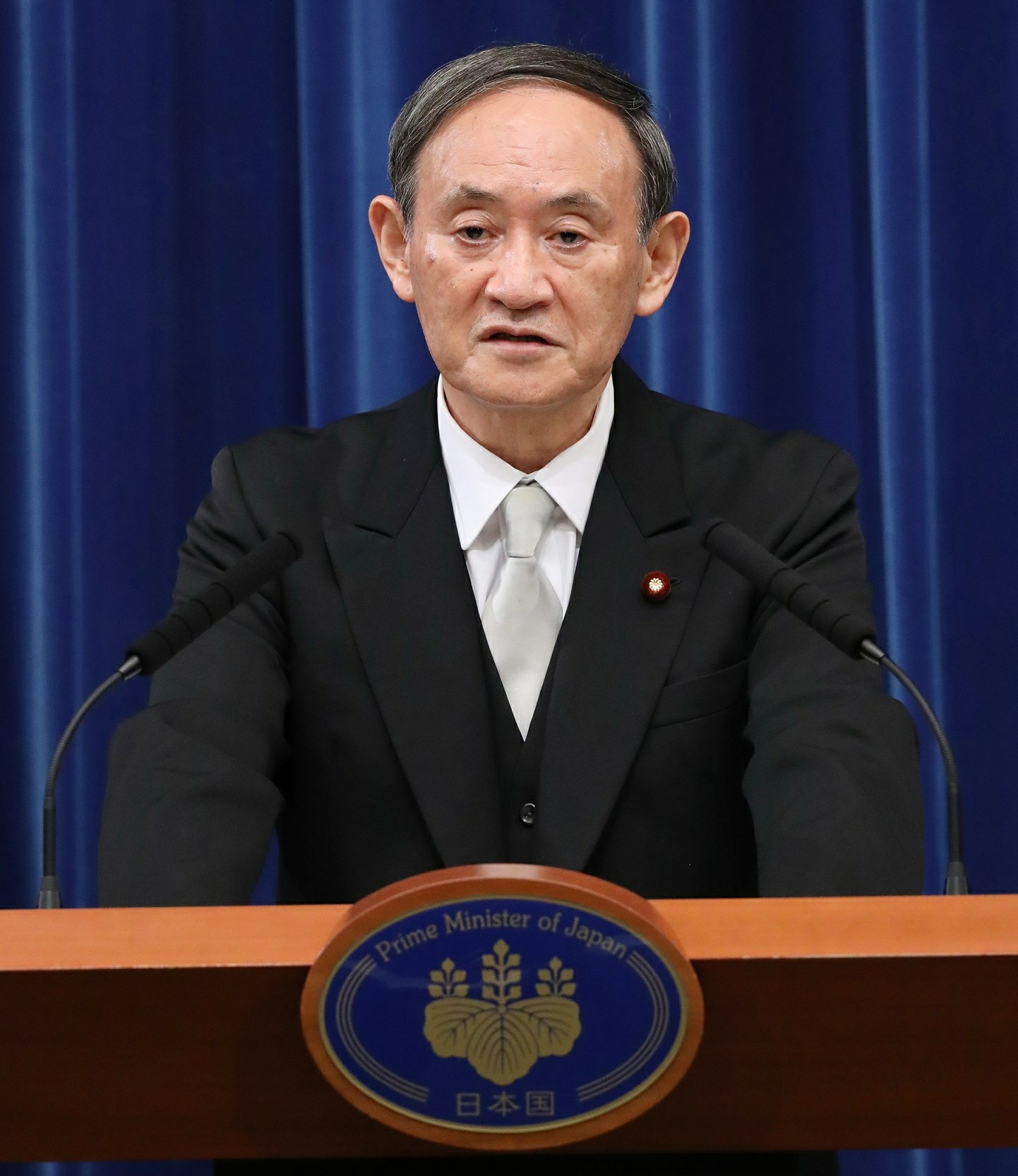 Japanese Prime Minister Yoshihide Suga giving his first press conference as Prime Minister on 16 September 2020.