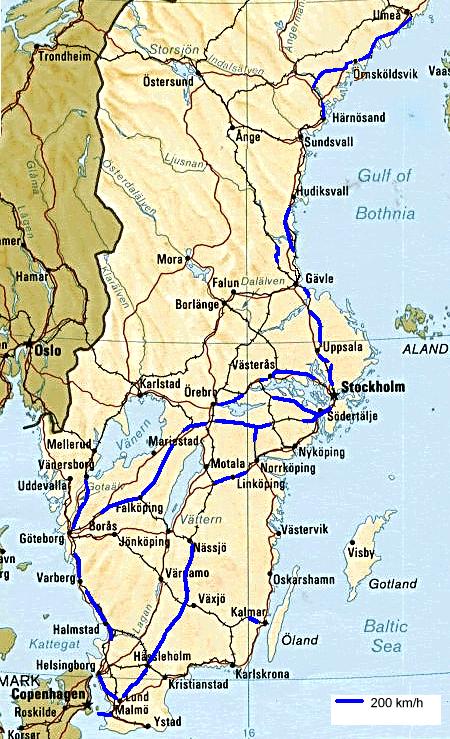 Highspeed Rail In Sweden Wikipedia - Sweden map distance