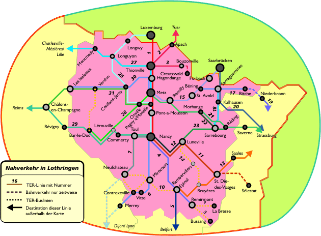 Поезда по Лотарингии: схема маршрутов поездов по Лотарингии
