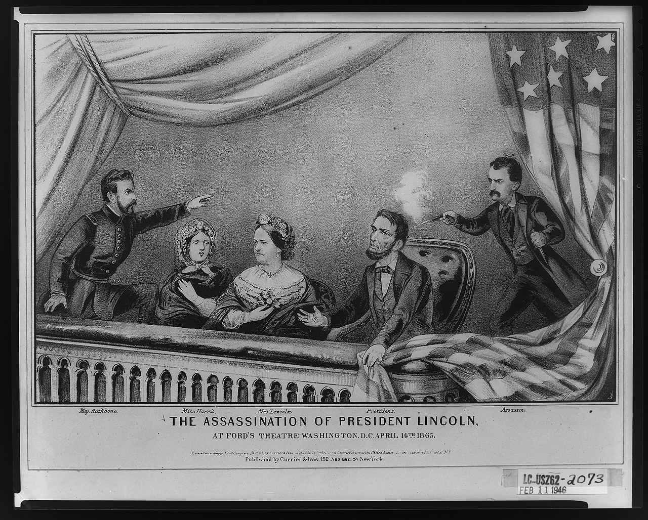 """The assassination of President Lincoln at Ford's Theatre von Currier & Ives [Public domain], via Wikimedia Commons"""