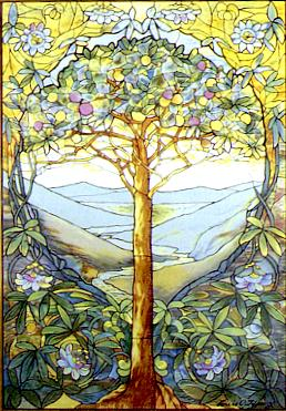 The tree of life, stained glass by Louis Comfo...