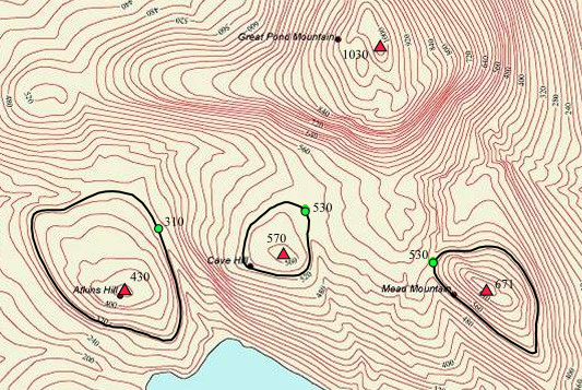 Topographic prominence of three peaks located in Maine, USA, all near the higher Great Pond Mountain. Red triangles mark the four peaks, the lowest contour line encircling each of the three lower peaks are shown in black and the green dots mark the key cols that mark the starting point of prominence. The prominences are Atkins Hill: 430 - 310 = 120 ft, Cave Hill: 570 - 530 = 40 ft, Mead Mountain: 671 - 530 = 141 ft. The parent peak of each peak is Great Pond Mountain. Topographic prominence.png
