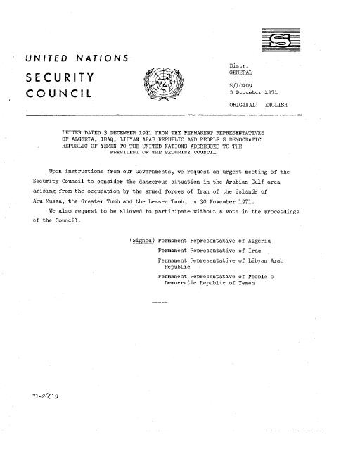 File:Un Doc S 10409 - Letter Dated 3 December 1971 From The