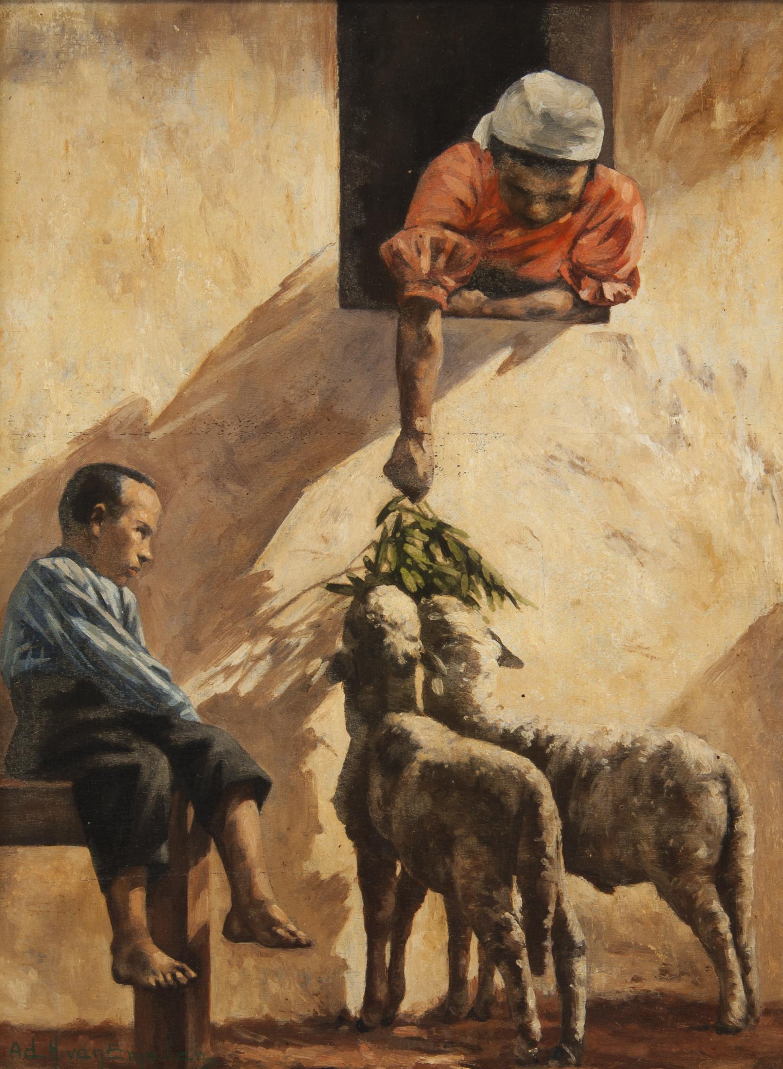 Mulher na Janela Alimentando Cordeiros, Menino Sentado numa Banqueta