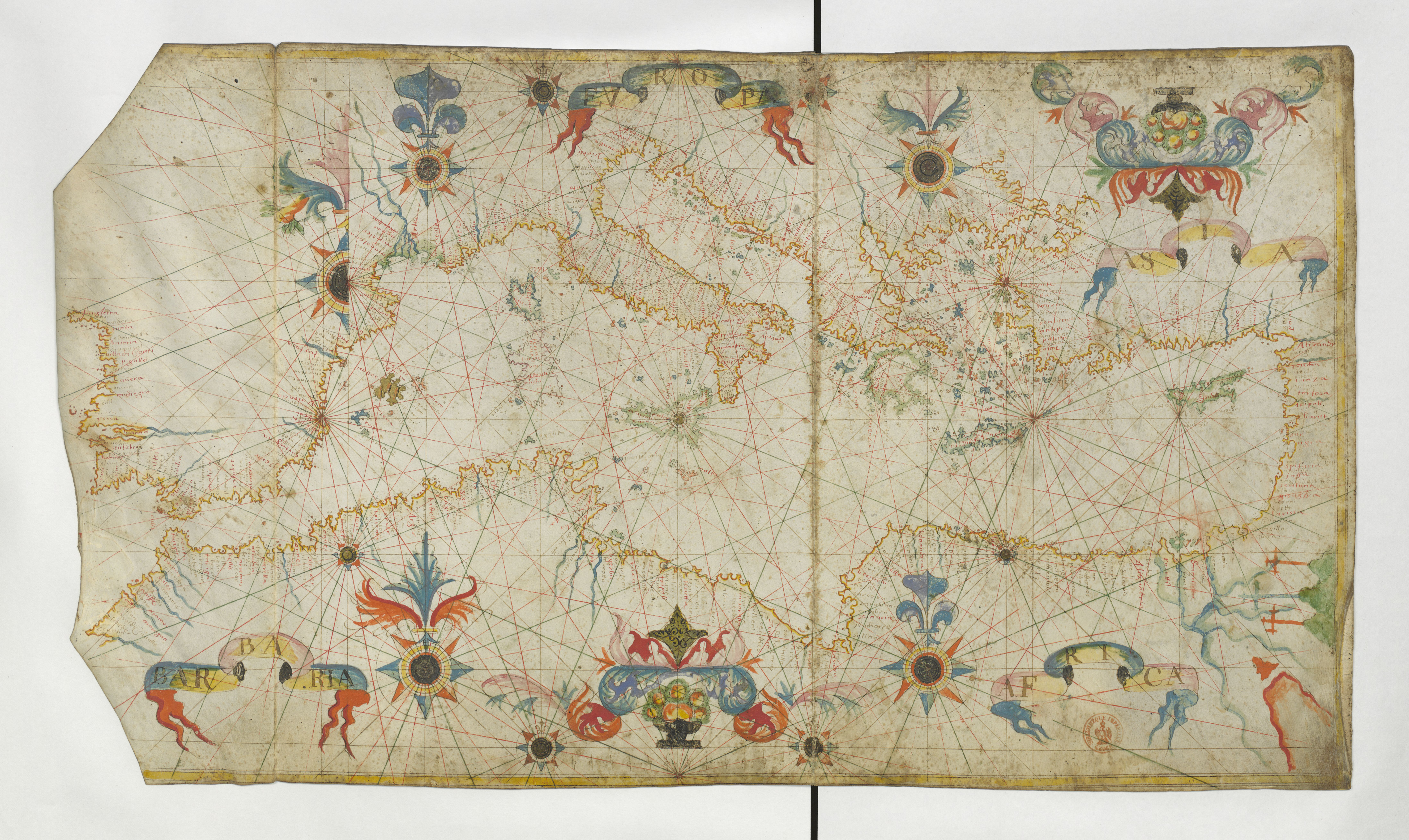 File 1662 Portolan Chart Of The Mediterranean Sea Including Gibraltar And The Turkish Straits By François Ollive Jpg Wikimedia Commons