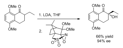Use of a chiral oxaziridine for asymmetric synthesis.