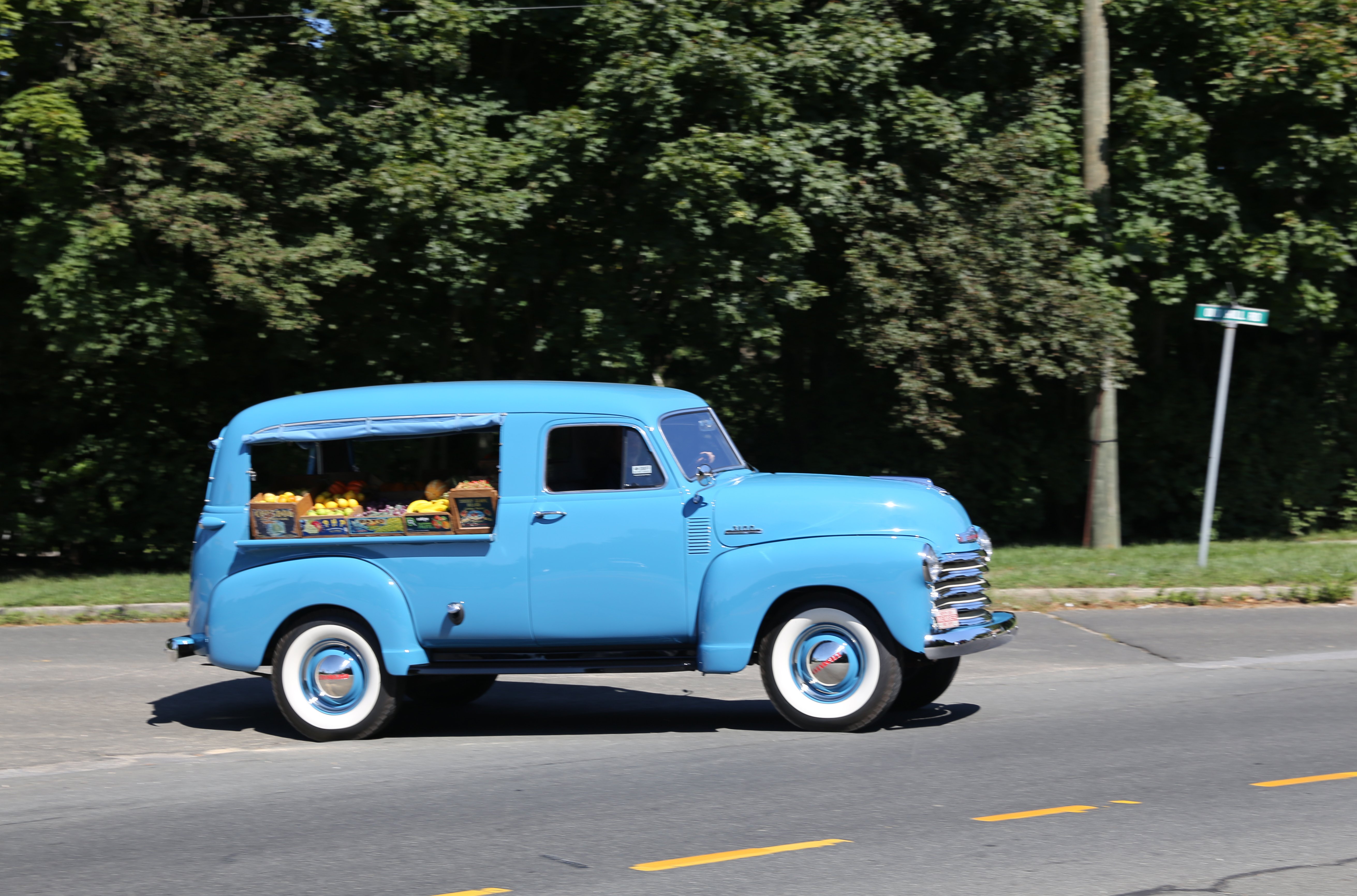 A 1953 blue Canopy Express from Chevrolet loaded with fruits and veg. & Canopy express - Wikipedia