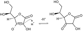 Nucleophilic attack of ascorbic enol on proton to give 1,3-diketone