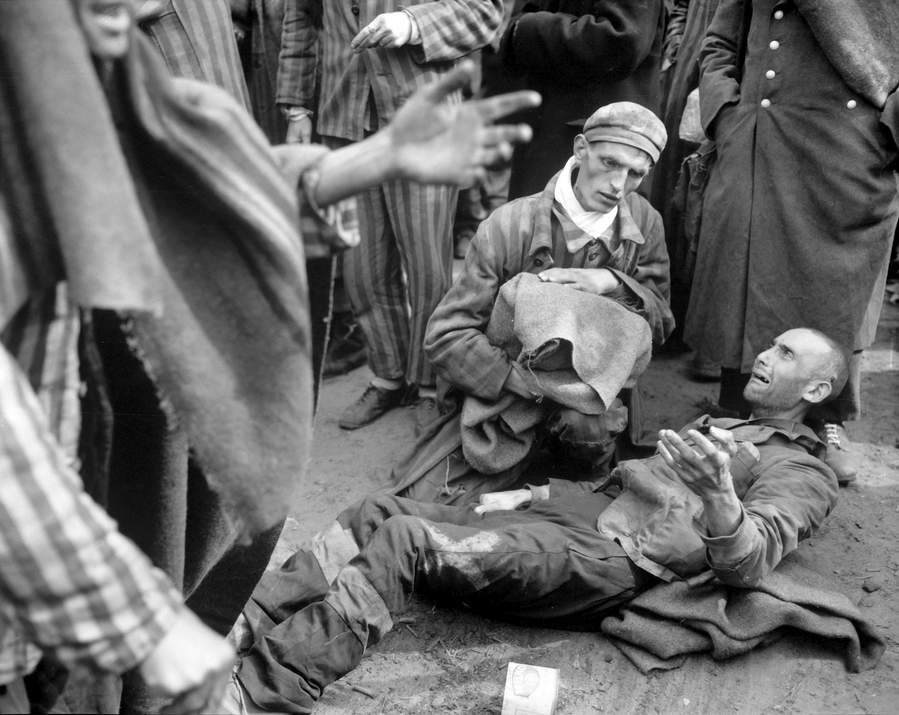 Rescued inmates at nazi concentration camp Wobbelin, 1945 near ...
