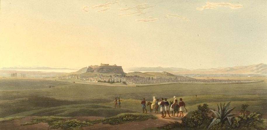 Athens from the Foot of Mount Anchesmus. Von Edward Dodwell: Views in Greece, London 1821, p. 63. Lizenz: PD-US.