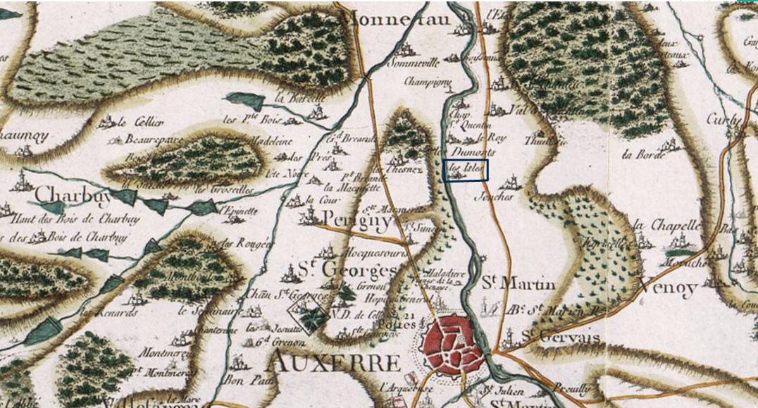 Portion of the Cassini map showing Auxerre and its surroudings on the north side. The Yonne river crosses the map through the middle, flowing south-north. On its east side a little distance away runs the old road from Autun to Sens. The symbol for the hamlet les Isles (surrounded by a blue rectangle 3 km north of Auxerre) indicates the location of the old abbey of the same name, already destroyed at the time of the making of the map (between around 1730 and 1780).