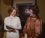 Months before her death, Russell meets with First Lady Betty Ford (herself a breast cancer survivor) at the White House on May 11, 1976