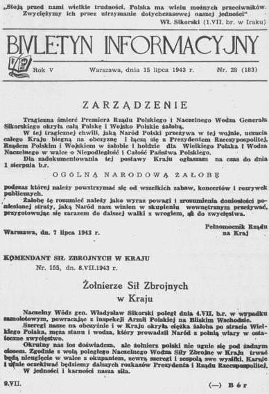 Polish Underground State's underground Information Bulletin , 15 July 1943, reports the death of Gen. Sikorski and orders a national day of mourning Biuletyn informacyjny sikorski.jpg