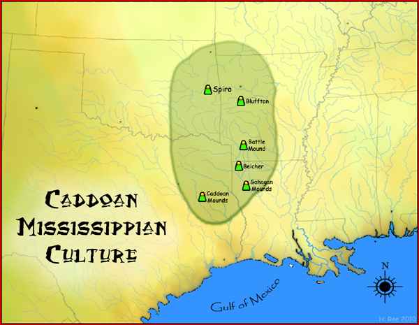 Map of the Caddoan Mississippian culture and some important sites Caddoan Mississippian culture map HRoe 2010.jpg