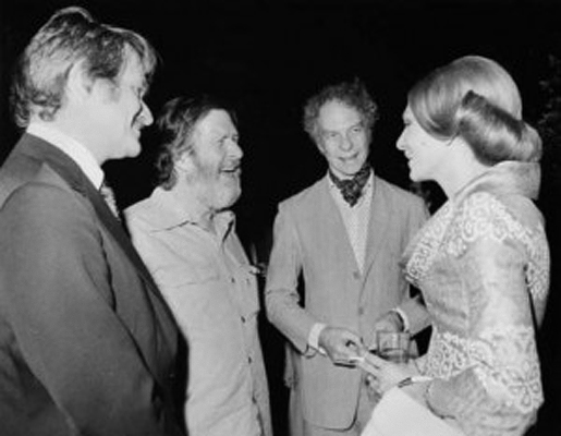 English: Farah Diba greets John Cage and Merce...