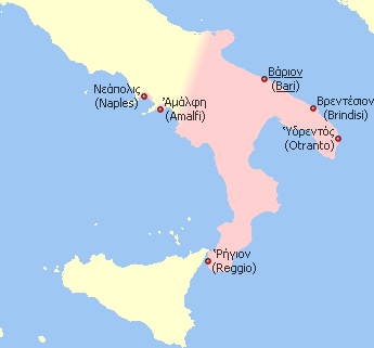Territorial extent of Byzantine (southern) Italy during the early 11th century. Modern city names (in English) are provided alongside the medieval Greek names.