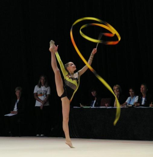 Dominika Červenková performing her [[ribbon (rhythmic gymnastics)|ribbon]] routine during the [[World Games 2005|2005 World Games]] in Duisburg
