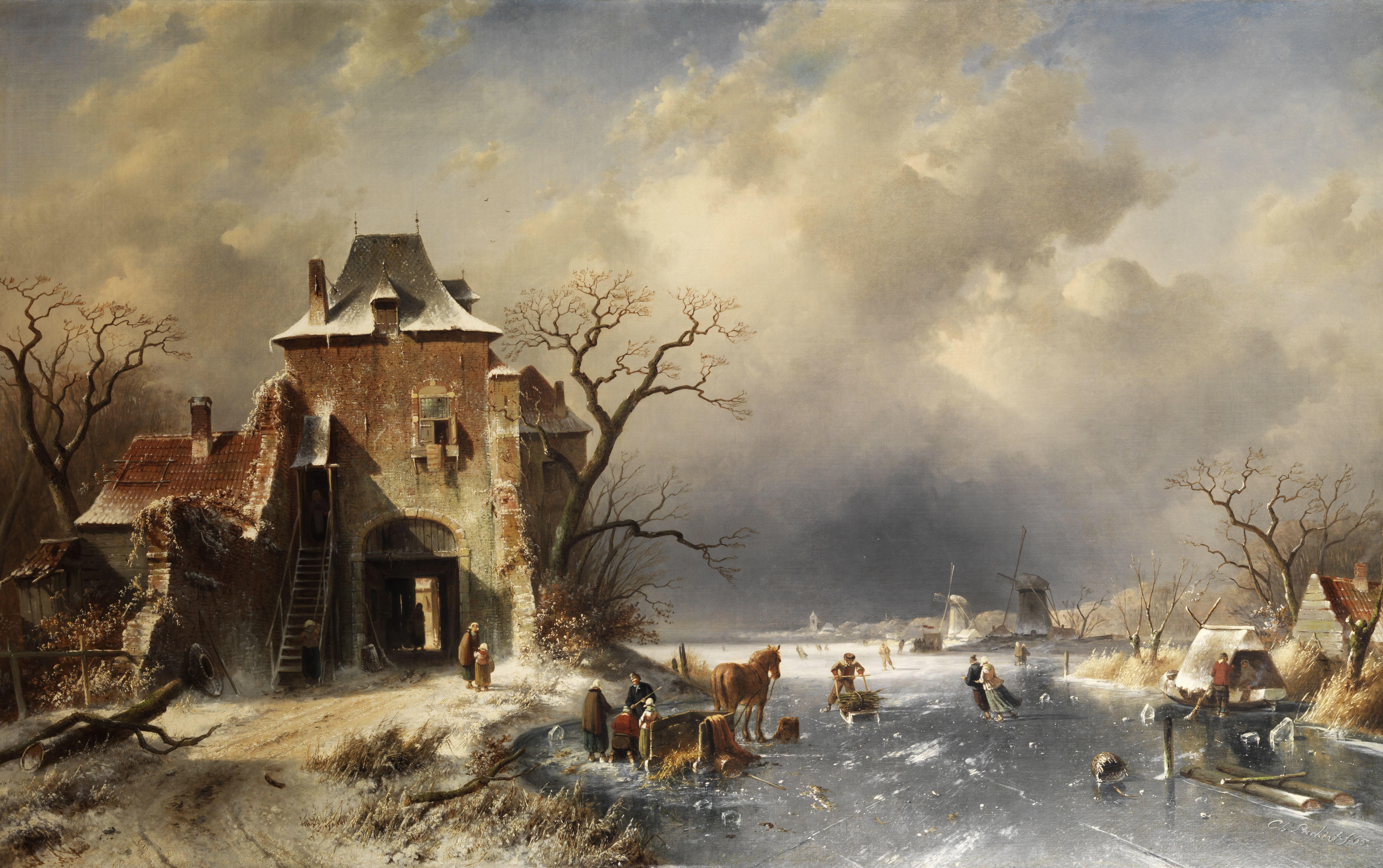 File:Charles Leickert Holländische Winterlandschaft 1865
