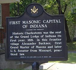 Marker denoting first Grand Lodge in Indiana