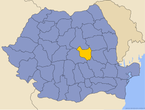 Administrative map of Руминия with Ковасна county highlighted