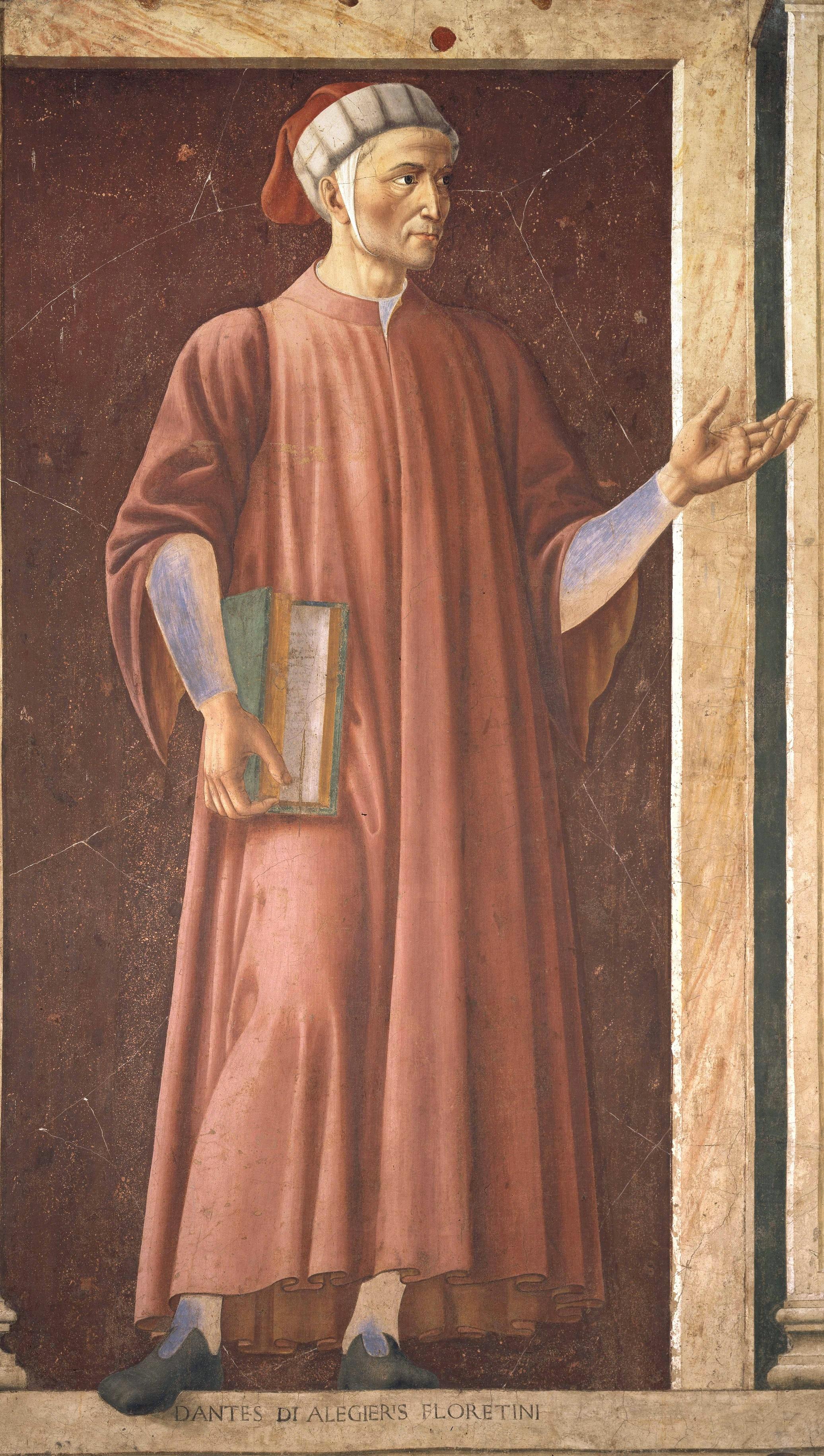 Dante Alighieri. Fresco von Andrea de Castagno, um 1450.