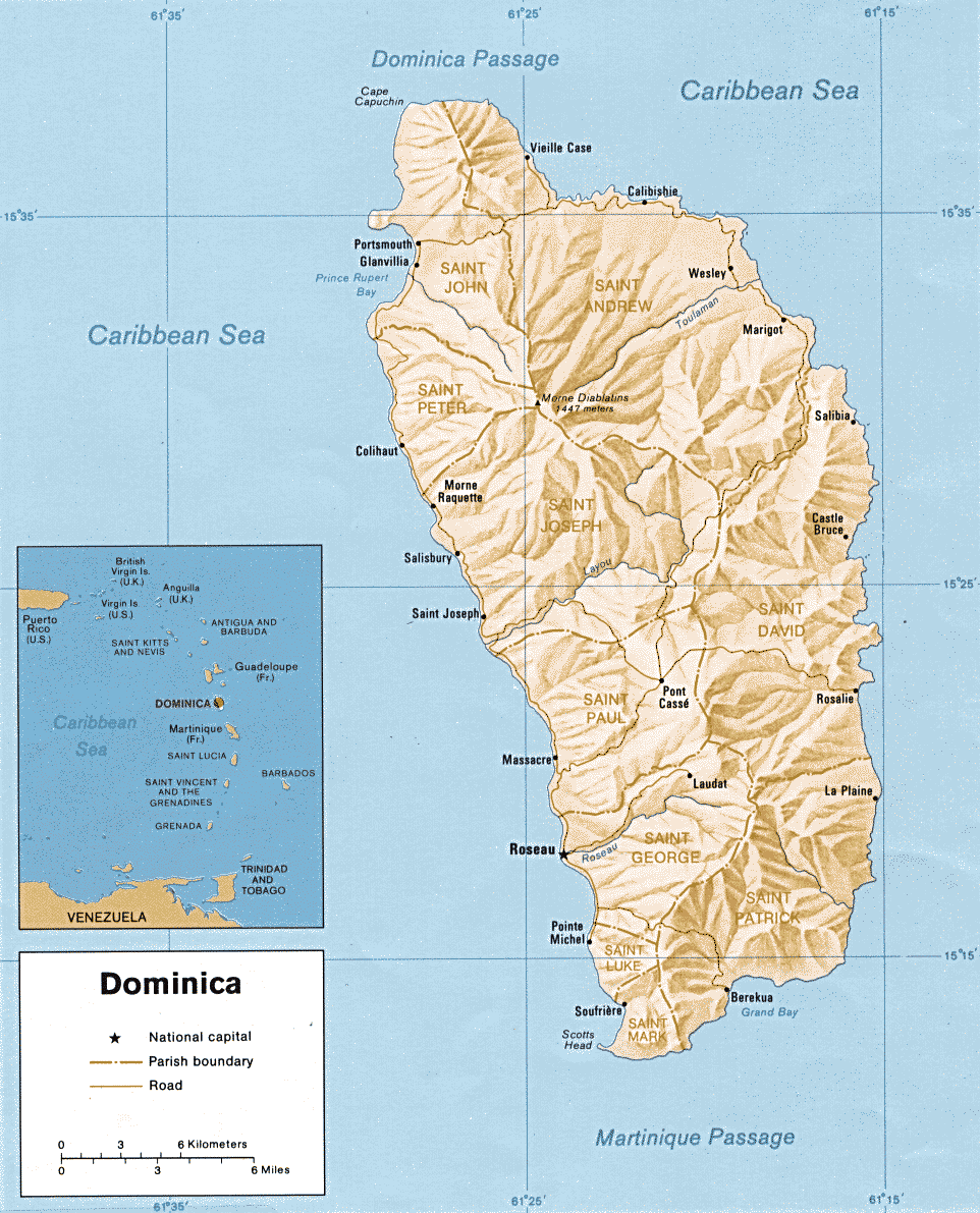 Geography Of Dominica Wikipedia - Map of dominica caribbean sea