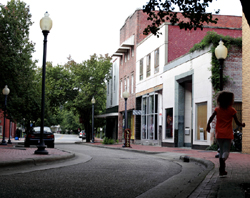 One of the downtown side streets with shops and restaurants