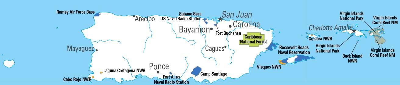 U.S. military installations in Puerto Rico (including the United States Virgin Islands) throughout the 20th century Federal lands in Puerto Rico and VI.JPG