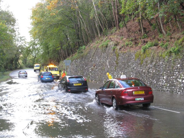 Flood water on the A493 at Penmaenpool - geograph.org.uk - 1283303