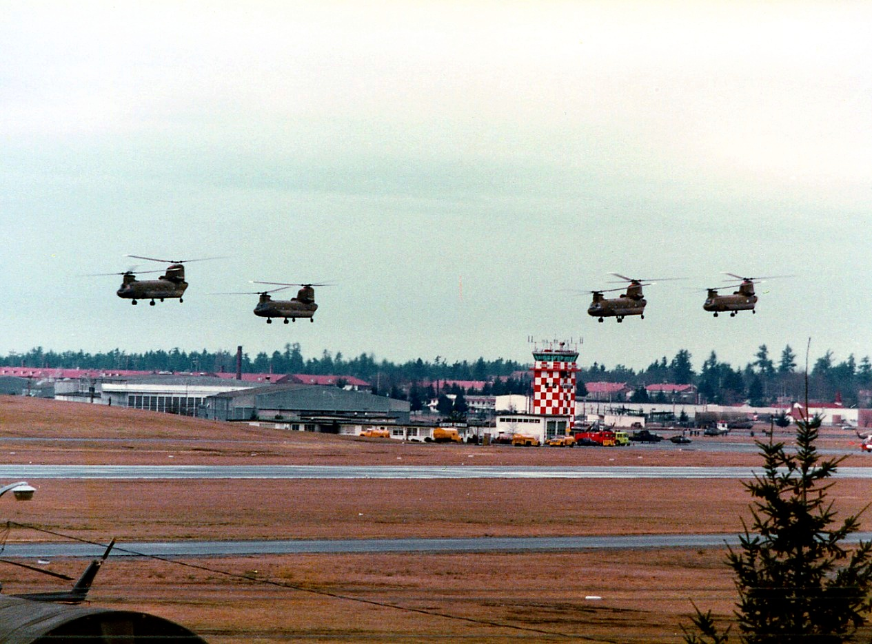 Chinook helicopters over Gray Army Airfield at Ft. Lewis in 1977