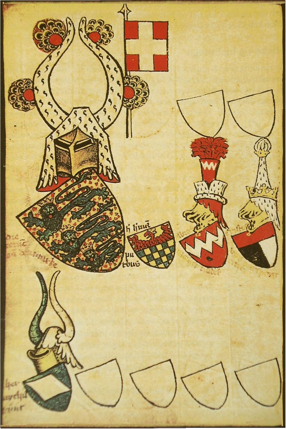Abbildung aus dem Armorial Gelre mit der ältesten bekannten Darstellung des Dannebrogs (um 1400)