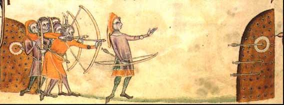 Berühmte Darstellung mittelalterlicher Bogenschützen beim Training.