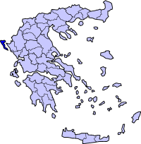 Location of Corfu Prefecture in Greece