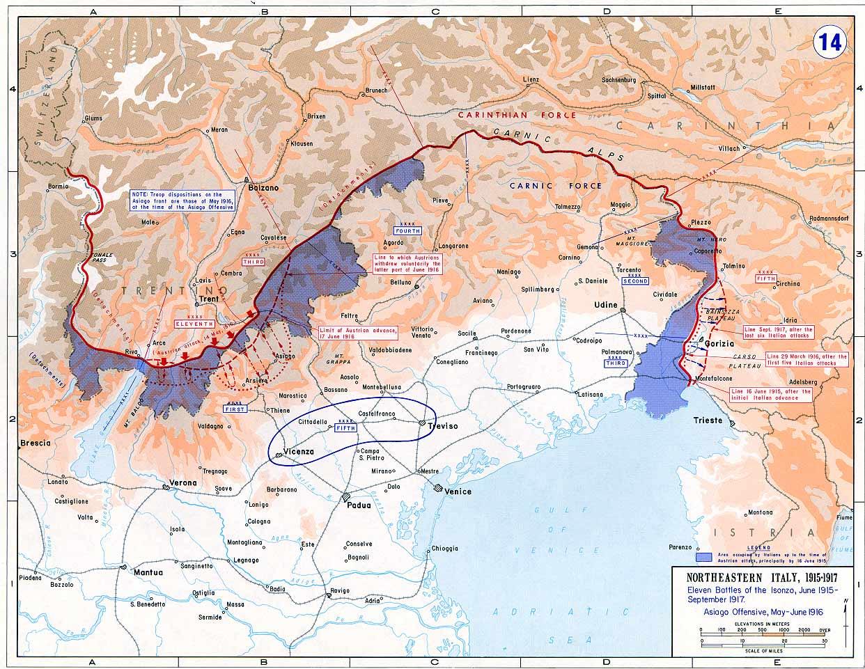 Die italienische Front 1915 bis 1917, italienische Eroberungen in Blau